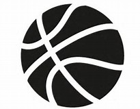 A black basketball against a white background.